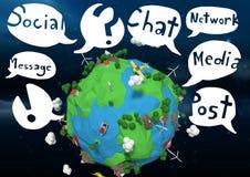 la terre de l'animation 3D avec des graphiques de bulle Photographie stock libre de droits