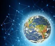 La terre de l'espace Le meilleur concept d'Internet des affaires globales de série de concepts Éléments de cette image meublés pa Photos stock