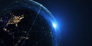 La terre de l'espace la nuit avec un système de communication numérique 3 illustration de vecteur
