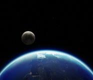 la terre de la planète 3D avec la lune Éléments de cette image meublés par N Photo libre de droits