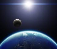 la terre de la planète 3D avec la lune et le Sun Éléments des furnis de cette image Photographie stock libre de droits