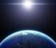 la terre de la planète 3D avec Sun Éléments de cette image meublés par le Na Photos stock