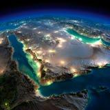 La terre de nuit. Arabie Saoudite Image stock