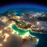La terre de nuit. Golfe Persique Photo libre de droits