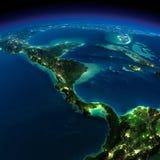 La terre de nuit. Les pays de l'Amérique Centrale Image stock