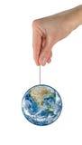 La terre de planète accroche sur la NASA de corde Image libre de droits