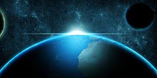 La terre de planète au-dessus du fond d'imagination d'espace lointain Photos stock