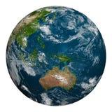 La terre de planète avec des nuages Australie, Océanie et région de l'Asie Photos stock