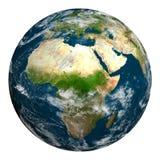 La terre de planète avec des nuages L'Afrique, région de l'Europe et de l'Asie Photos stock