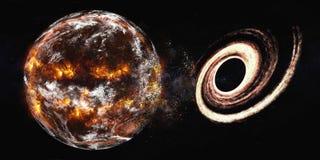 La terre de planète avec l'explosion de trou noir illustration libre de droits