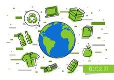 La terre de planète avec l'illustration recyclable de vecteur de choses illustration de vecteur