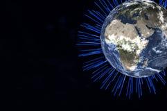 La terre de planète avec le feu d'artifice bleu sur le fond noir Des éléments de cette image ont été fournis par la NASA illustration de vecteur