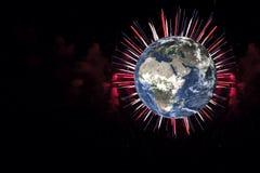 La terre de planète avec le feu d'artifice sur le fond noir Des éléments de cette image ont été fournis par la NASA illustration stock