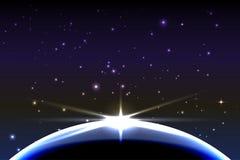La terre de planète avec le lever de soleil dans l'espace Fond de l'espace de vecteur illustration stock
