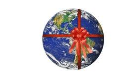 La terre de planète avec le ruban rouge Photo stock