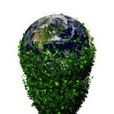 La terre de planète couverte de feuilles Globe d'Eco Photos stock