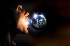 La terre de planète d'ampoule Photographie stock