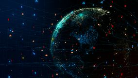 la terre de la planète 3D dans le réseau global de cyber avec le cryptocurrency autour du globe Photographie stock