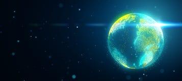 La terre de planète dans l'espace avec la fusée obscurcie illustration de vecteur