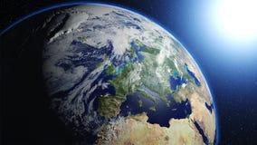 La terre de planète dans l'univers ou l'espace, la terre et la galaxie dans une nébuleuse opacifie Photo libre de droits