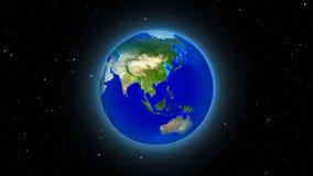 La terre de planète dans l'univers ou l'espace, la terre et la galaxie dans une nébuleuse opacifient Image libre de droits