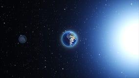 La terre de planète dans l'univers ou l'espace, le globe et la galaxie dans une nébuleuse opacifie Image stock