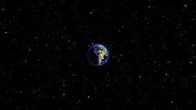 La terre de planète dans l'univers ou l'espace, le globe et la galaxie dans une nébuleuse opacifie Photos stock