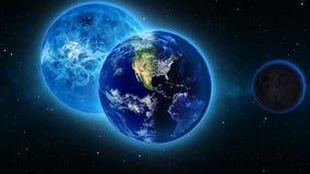 La terre de planète dans l'univers ou l'espace, le globe et la galaxie dans une nébuleuse opacifie Images libres de droits