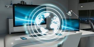 La terre de planète de Digital flottant dans le rendu du bureau 3D Photographie stock