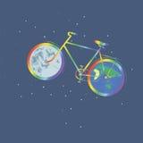 La terre de planète de roue du vélo un d'arc-en-ciel une autre lune de roue illustration libre de droits