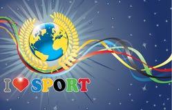 La terre de planète en guirlande de laurier, rubans olympiques Photo libre de droits