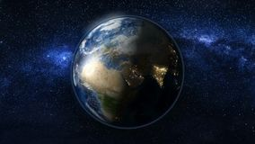 La terre de planète en univers noir et bleu des étoiles Photo stock