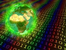 La terre de planète et données digitales - l'Europe Afrique Asie Photos stock
