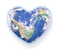 La terre de planète formée comme coeur et d'isolement dans le backgro Images libres de droits