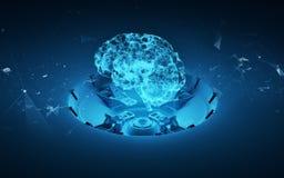 La terre de planète de l'hologramme 3d Photos stock