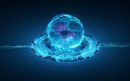 La terre de planète de l'hologramme 3d Photographie stock