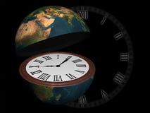 La terre de planète ouverte comme horloge-montre Photos libres de droits