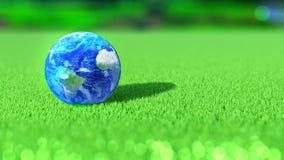 La terre de planète sur le cours de vert de golf L'Amérique, Afrique, l'Europe Concept rendu 3d illustration libre de droits