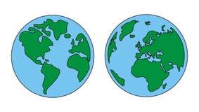 La terre de planète verte et vecteur bleu d'isolement Images libres de droits