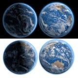 La terre de planète vue de nuit et de jour isolat rendu 3d images libres de droits