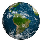 La terre de planète avec des nuages beau chiffre dimensionnel illustration trois du sud de 3d Amérique très Image libre de droits