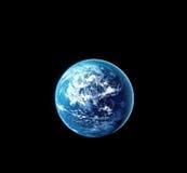 La terre de planète avec le soleil se levant de l'espace la nuit Photographie stock