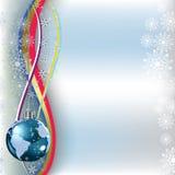 La terre de planète de salutation de Noël sur le bleu Photographie stock libre de droits