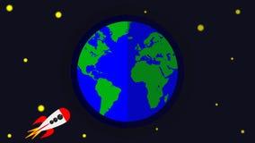 La terre de Rocket et de planète illustration libre de droits