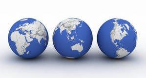 La terre de trois planètes sur le blanc Image libre de droits