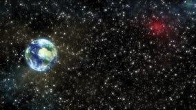 La terre de vol dans l'espace illustration libre de droits