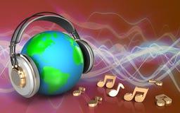 la terre du blanc 3d dans des écouteurs illustration stock