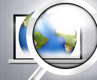 La terre en verre d'ordinateur Photographie stock libre de droits