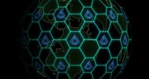 La terre est empêtrée par le réseau de blockchain de Lisk LSK Concept de Blockchain illustration stock