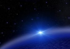 La terre et étoiles dans un espace libre Photographie stock libre de droits